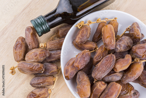 Close up concept of dried Dates and Dates concentrate on
