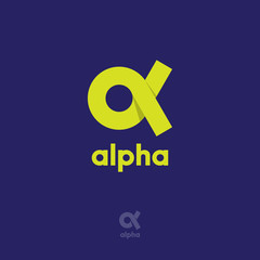 Alpha Logo. Alpha emblem. Yellow Greek letter Alpha on a blue background.