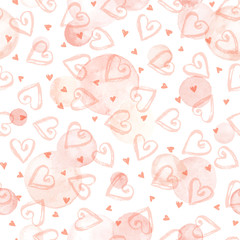 Watercolor vector texture. Aquarelle circles and dry brush hearts in pastel colors. Seamless pattern. Watercolor pink spots isolated on white background.