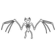 Bat Skeleton Outline Icon Symbol Design. Vector illustration of bat isolated on white background. Halloween graphic.