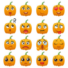 Halloween Pumpkin Character Emoji Vector Collection
