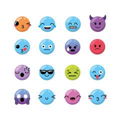 set kawaii emoji emotion design icon