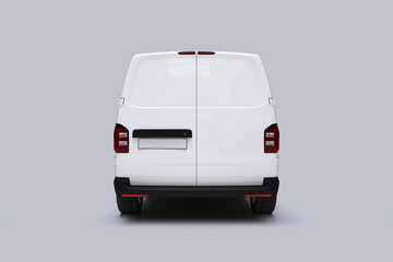 White Van Mockup on bright Ground for vehicle signage