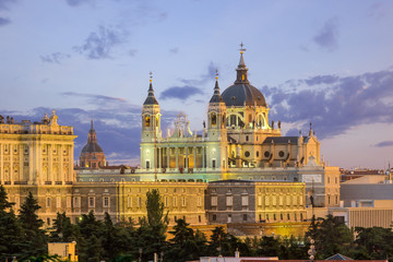 Printed roller blinds Madrid Madrid skyline and almudena church at sunset,Spain