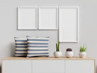 Mock up poster frame on cabinet background. 3d rendering