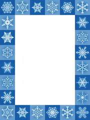 Snow flakes blue christmas frame, vertical format - twenty-four pleasing beautiful tiles - vector illustration with blank white center to be labeled.
