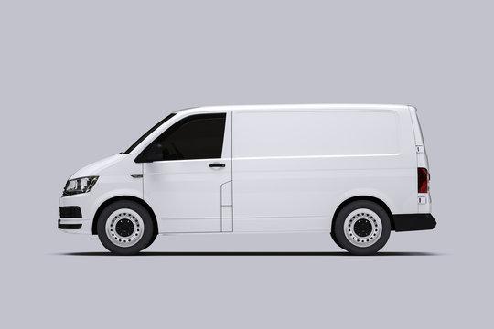 White Van Mockup on bright Ground for vehicle signage