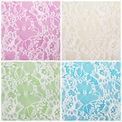 white lace on different colorful backgrounds