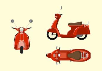Red italian scooter. Vespa vector illustration.