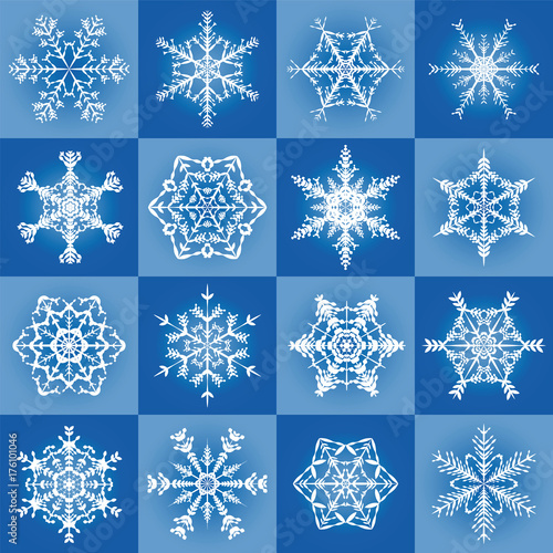 Snowflakes Filigree Blue Christmas Pattern Background With Six Diffe Tiles Seamless Extendable Vector Ilration