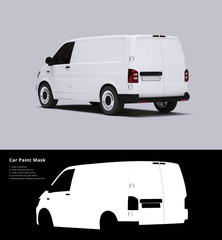 White Van Mockup on bright Ground for vehicle signage with Mask