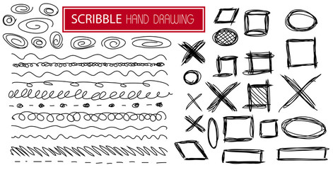 hand drawn scribble symbols isolated on white - SET4