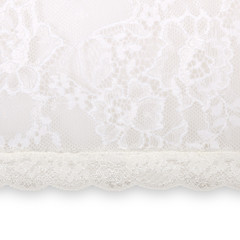 white floral lace on a white background