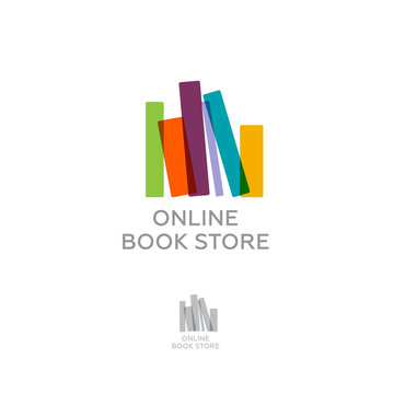 Online book store. Digital library. Colorful books on a light background color.