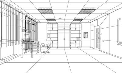 Interior sketch. Vector rendering of 3d