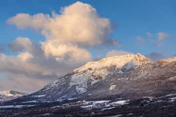 Winter morning light on the mountain of Charance near the city of Gap. Hautes-Alpes, Southern French Alps, France