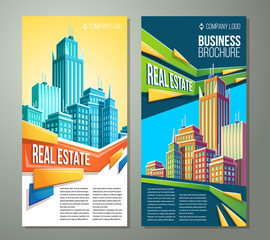 Set of vector cartoon illustrations, banners, urban backgrounds with modern big city buildings, skyscrapers, business centers and space for your text. Advertising banner for real estate agency