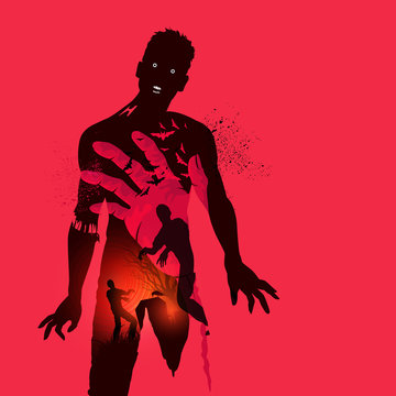 Nightmare scary zombie concept. Double exposure effect vector illustration.