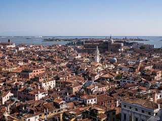 Aerial bird's eye view of Venice