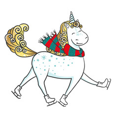 Hand drawn Cute magic Unicorn on skates.