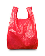 Red plastic bag with clipping path