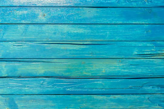 Blue wood planks background texture.