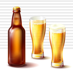 Glossy longneck beer bottle of brown amber glass with cap and freshly-poured in weizen glasses light beer or ale with gas bubbles and spilling foam realistic vector illustration on white background.