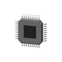 CPU processor icon. Isolated on white background. 3d Vector illustration.