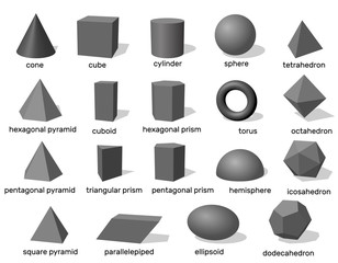 Basic 3d geometric shapes. Isolated on white background. Vector illustration.