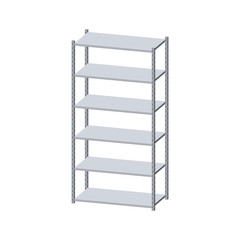 Metal shelving unit. Isolated on white background. 3d Vector illustration.