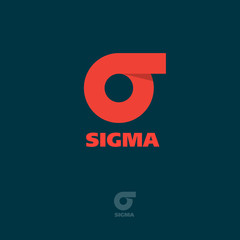 Sigma flat logo. Sigma emblem. Red Greek letter sigma on a dark background.