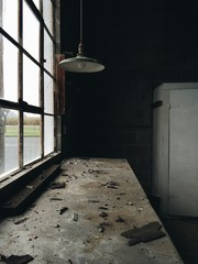 Interior photos of an old abandoned dirty empty garage