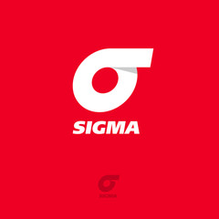 Sigma Logo. Sigma flat emblem. Greek letter sigma on a red background.