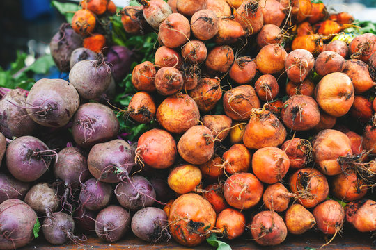 Organic beets on a market place.