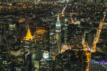 New York skyline at night from Empire State building.
