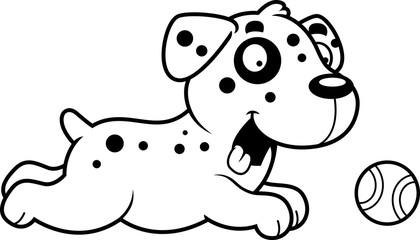 Cartoon Dalmatian Chasing Ball