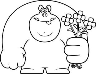 Cartoon Pig Flowers