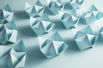 Blue fortune tellers arranged in rows...