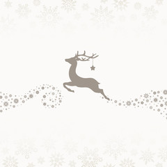 Wall Mural - Flying Reindeer With Star & Stars Taupe