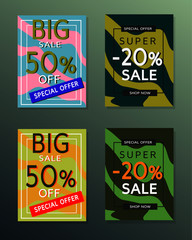 Collection of sale banners.