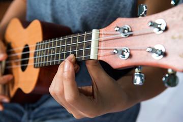 musician playing hawaiian ukulele