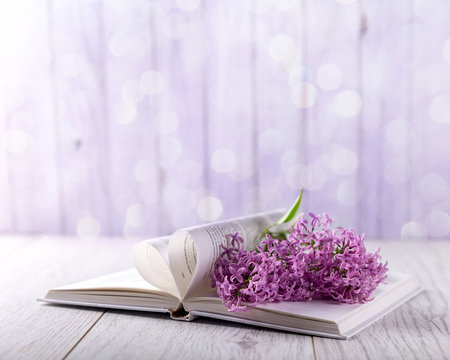 Lilac flowers on an open book on a light background