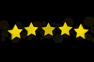 Five 3d render yellow stars on a color backgroung