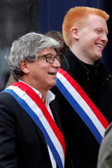 Members of parliament Eric Coquerel and Adrien Quatennens of La France Insoumise (France Unbowed) political party, attend a demonstration in Paris