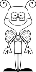 Cartoon Smiling Scientist Butterfly