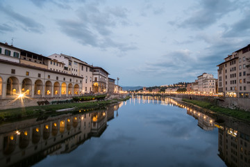 View of the Bridge and Building along Arno river in Florence, Italy.