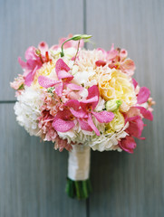 pink orange and white floral bridal bouquet