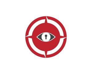 Eye Key compass Logo design template