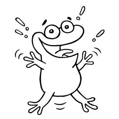 Cartoon lucky frog. Vector illustration.
