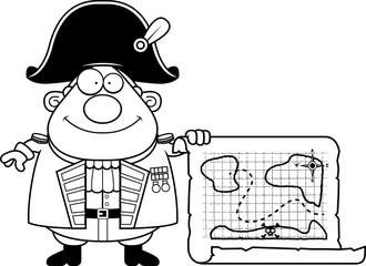 Cartoon British Admiral Treasure Map